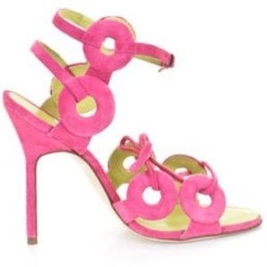 NEW Manolo Blahnik Pink Suede Sandals Size 40.5